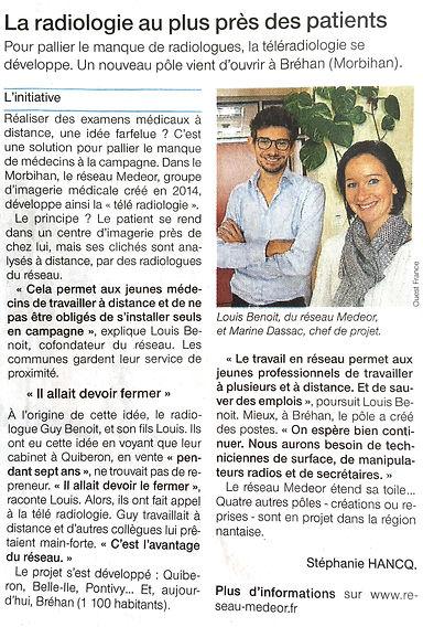 La radiologie au plus près des patients : article du Ouest France sur le Réseau Medeor