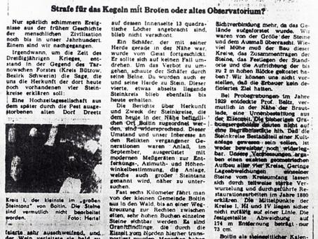 Boitiner Steinkreise in der Berliner Zeitung