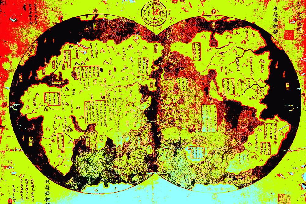Kopie der chinesischen Erdkarte von Zheng He.