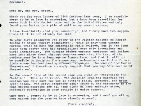 Brief von Thor Heyerdahl
