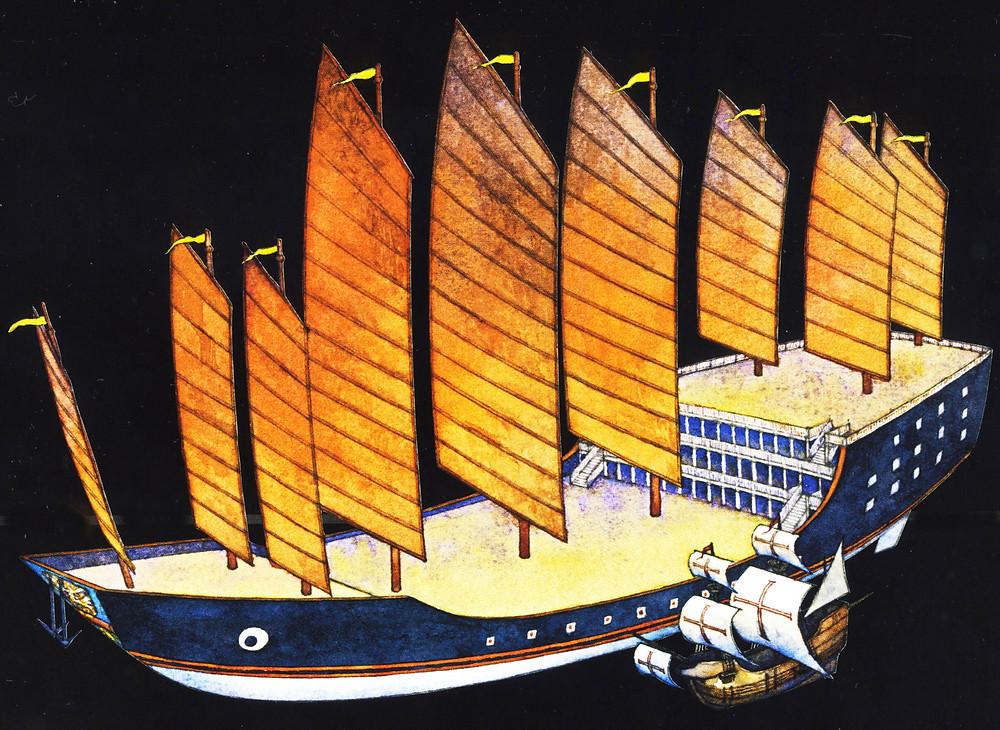 Eines der Riesenschiffe aus der Flotte von Zheng He. Im Vordergrund ist, zum Vergleich, eines der drei Segelschiffe dargestellt, mit denen Columbus Amerika erreichte. (Repro: nach Menzies)