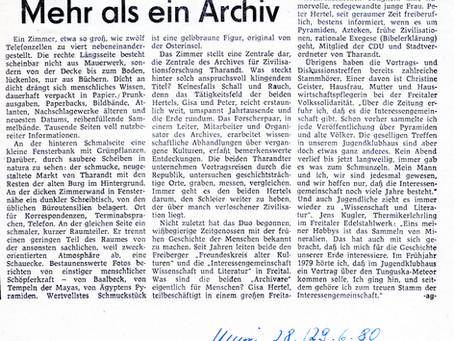 Zum 1. Archivgeburtstag 1980