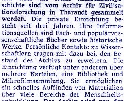 Archiv für Zivilisationsforschung in Tharandt