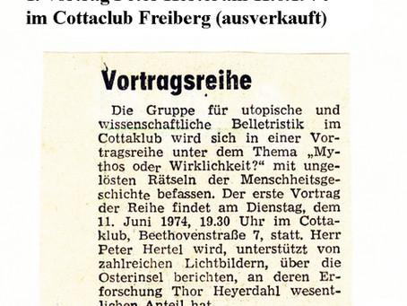 Peter Hertel, erster Vortrag im Cottaclub Freiberg