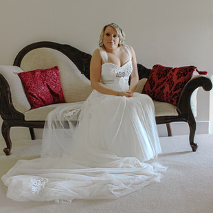 Wedding - Bride waiting for her father. Essex.