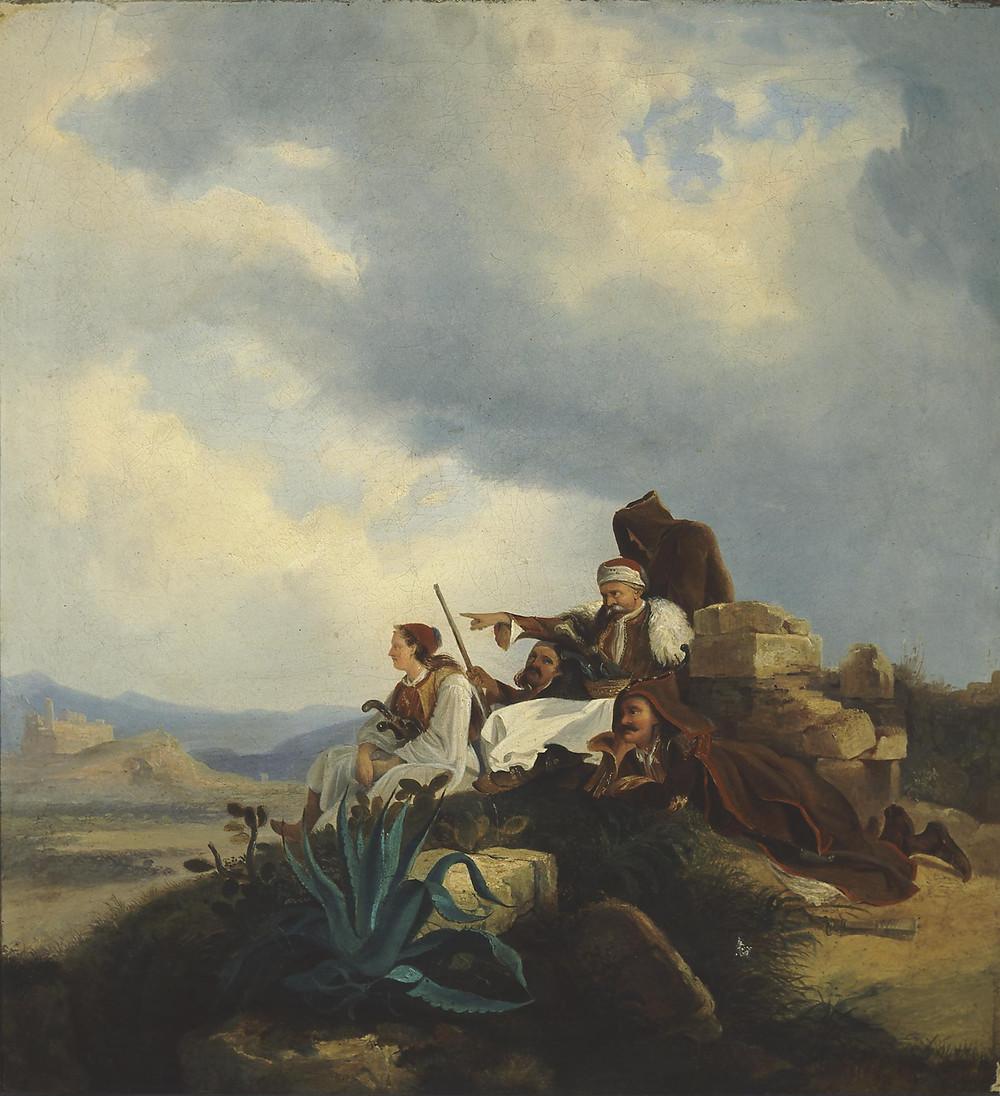 Παλληκάρια με τον Κολοκοτρώνη σε ταμπούρι. Λάδι σε μουσαμά. Συλλογή Ιδρύματος Ε. Κουτλίδη Hess Peter von (1792 - 1871).