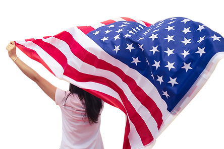 Young-women-raise-national-american-flag