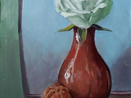 Bud Vase and Walnut with Spray Rose
