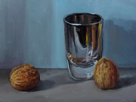 Walnuts and Shot glass