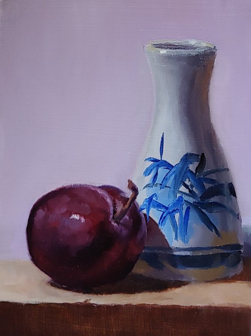 Plum and Japanese Bottle