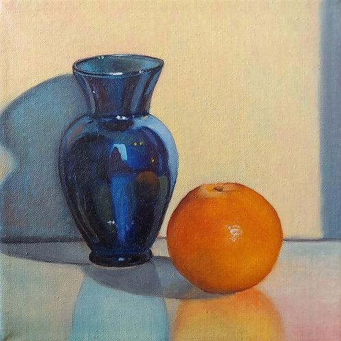 Blue Vase and Orange