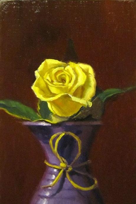 Yellow Spray Rose and Purple Vase