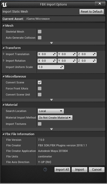 Image displaying FBX Import Options for Unreal.