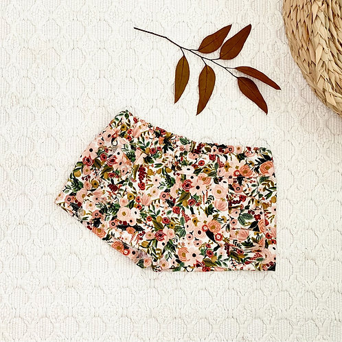 Garden Party Roses Ruffled Cotton Shorts