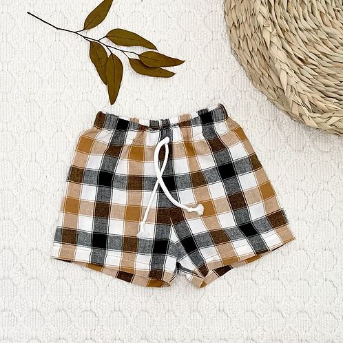Chestnut Plaid Cotton Shorts