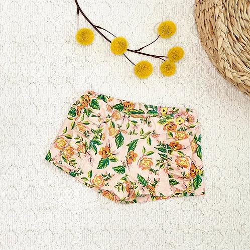Pink Peony Ruffled Cotton Shorts