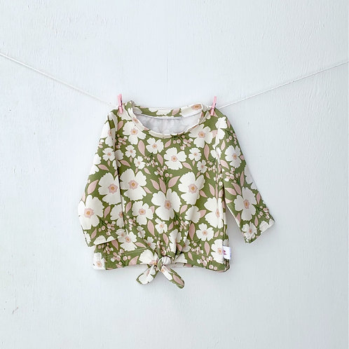 Blossoms in Sage Tie Front Top