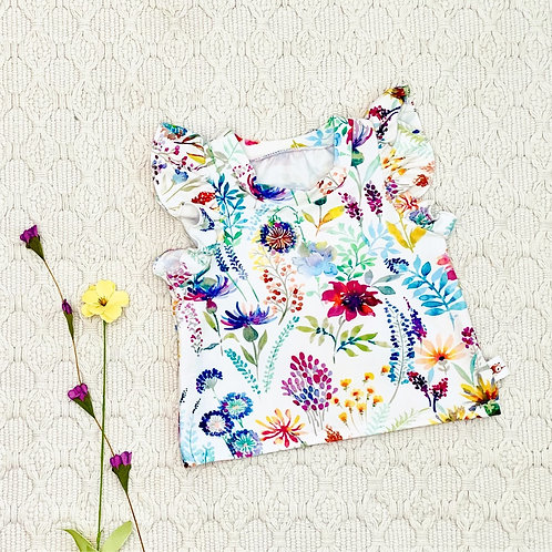 Wildflowers Flutter Sleeve Top