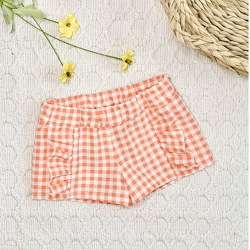 Orange and White Gingham Ruffled Shorts