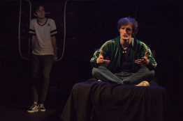 DARK PLAY OR STORIES FOR BOYS by Carlos Murillo Directed by Marc David Wright  Production Stage Manager: Chloe Morrell Lighting Design: Vittoria Orlando Costume Design: Ellie Ryan Set Design: Maria Shinas Sound Design: Amelia Way  Photo: Kyra Conroy