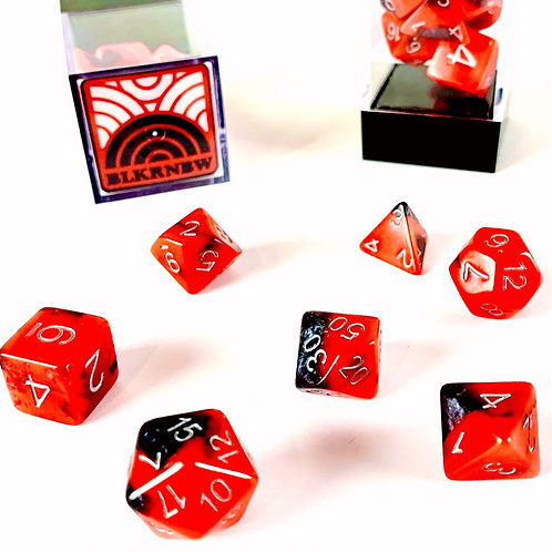 BLKRNBW black swirl red glow dice