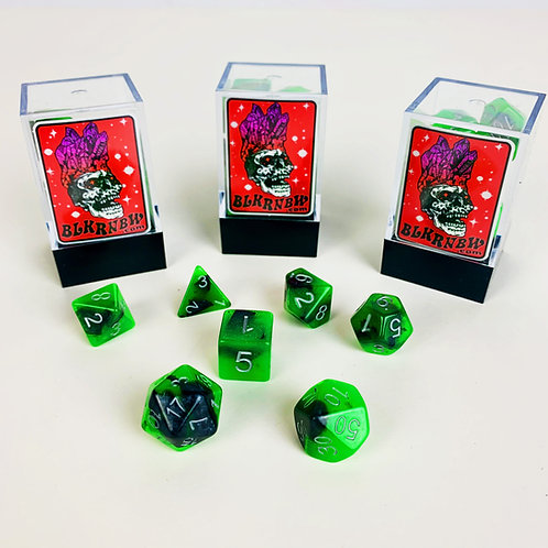 Plutonium Nyborg Black and Green Glow Dice
