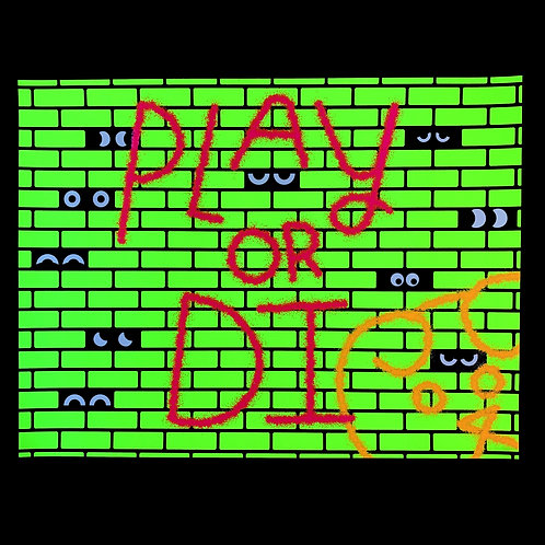 Play or DI, blacklight/glow poster from Jason Sturgill