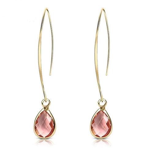Peach Crystal Gold Drop Earrings