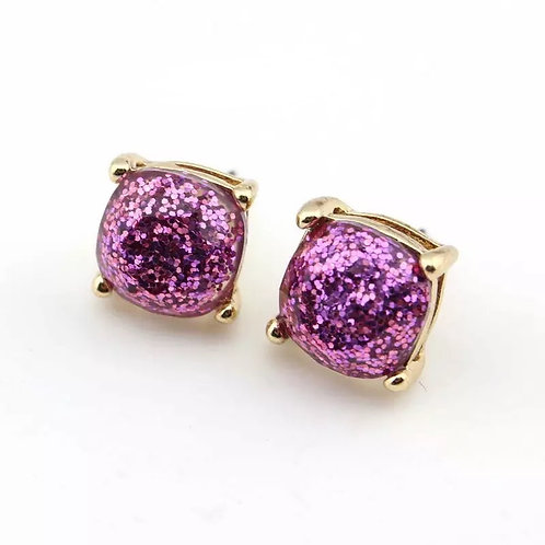 Purple Sparkles Gold Stud Earrings