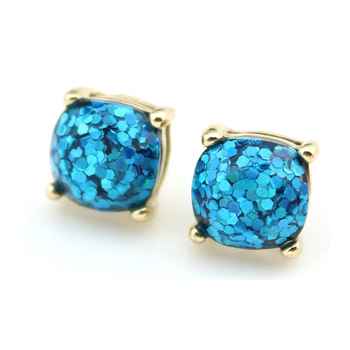 Turquoise Sparkles Gold Stud Earrings