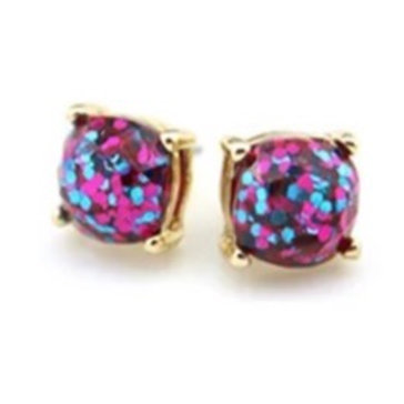 Fuchsia & Teal Sparkles Gold Stud Earrings