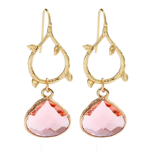 Peach Gold Vine Drop Earrings