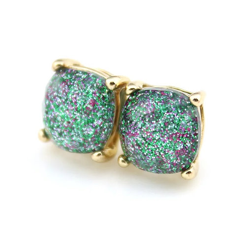 Apple Green Sparkles Gold Stud Earrings
