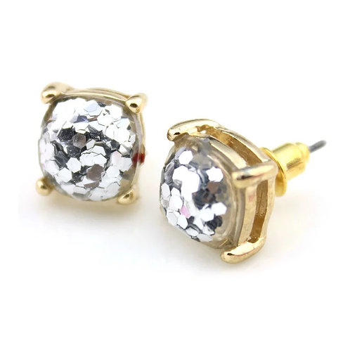 Silver Sparkles Gold Stud Earrings