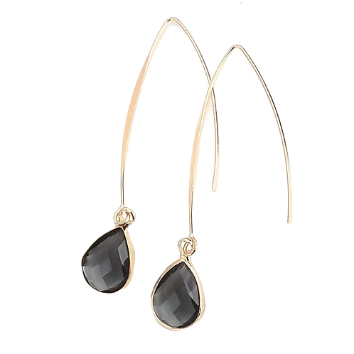 Grey Crystal & Gold Drop Earrings