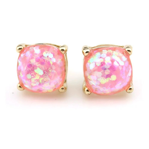 Iridescent Pink Gold Stud Earrings