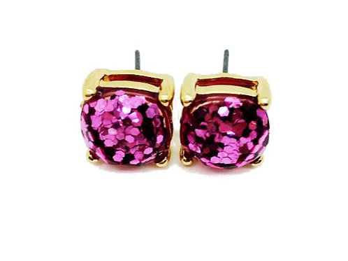 Fuchsia Gold Sparkles Stud Earrings
