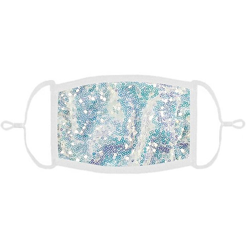 Light Blue Iridescent Sequins Face Mask