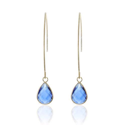 Royal Blue Gold Drop Earrings
