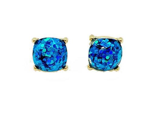 Sea Blue Sparkles Gold Stud Earrings
