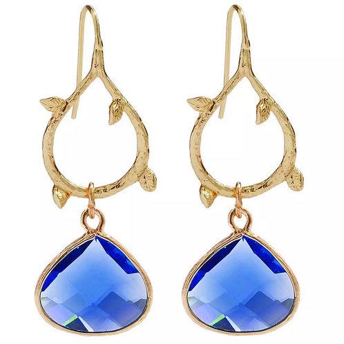 Royal Blue & Gold Vine Leaf Drop Earrings