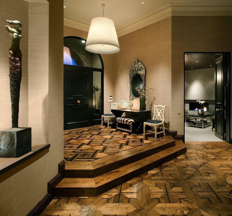 Walnut And Ebony Pattern Solid Hardwood Flooring. Foyer Entry Design. Wide  Plank Walnut Richard Marshall ...