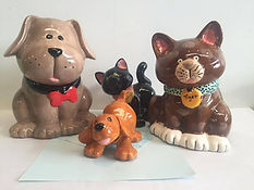 Ceramic Painted Cats and dogs