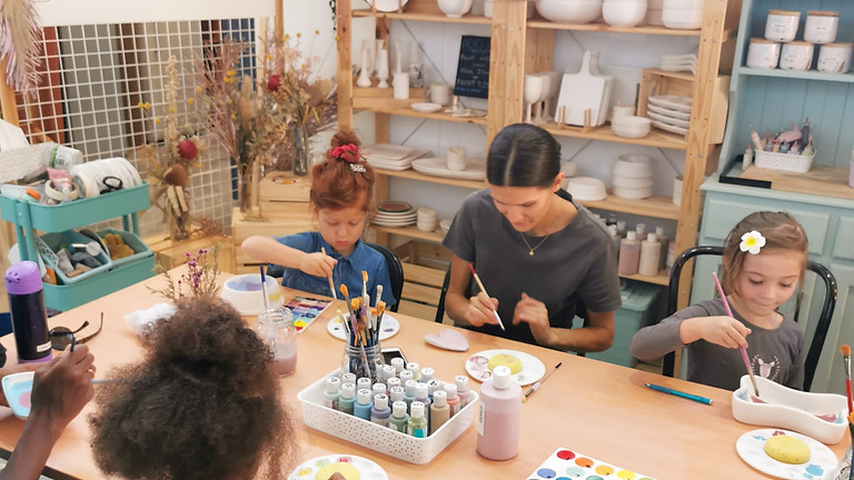 School holiday all ages pottery painting