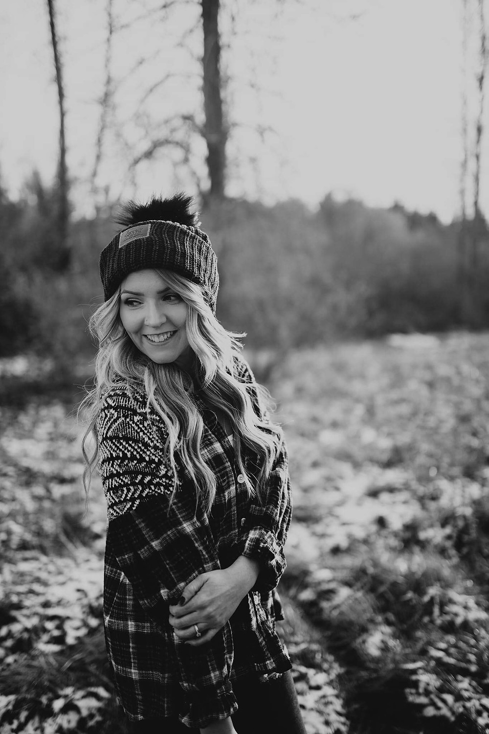 Love Your Melon, Free People, Natural Beaded Row Extensions, Hair Extensions, Photography, Nature, Black and White, Looks Like Film, Winter Beanie, Flannel, Long Hair,