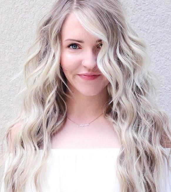 Blonde, NBR, NBR Extensions, Natural Beaded Row Extensions, Hair Extensions, Icy Blonde, Blue Eyes, Long Hair, Long Blonde Hair, Beach Waves, Beachy Curls,