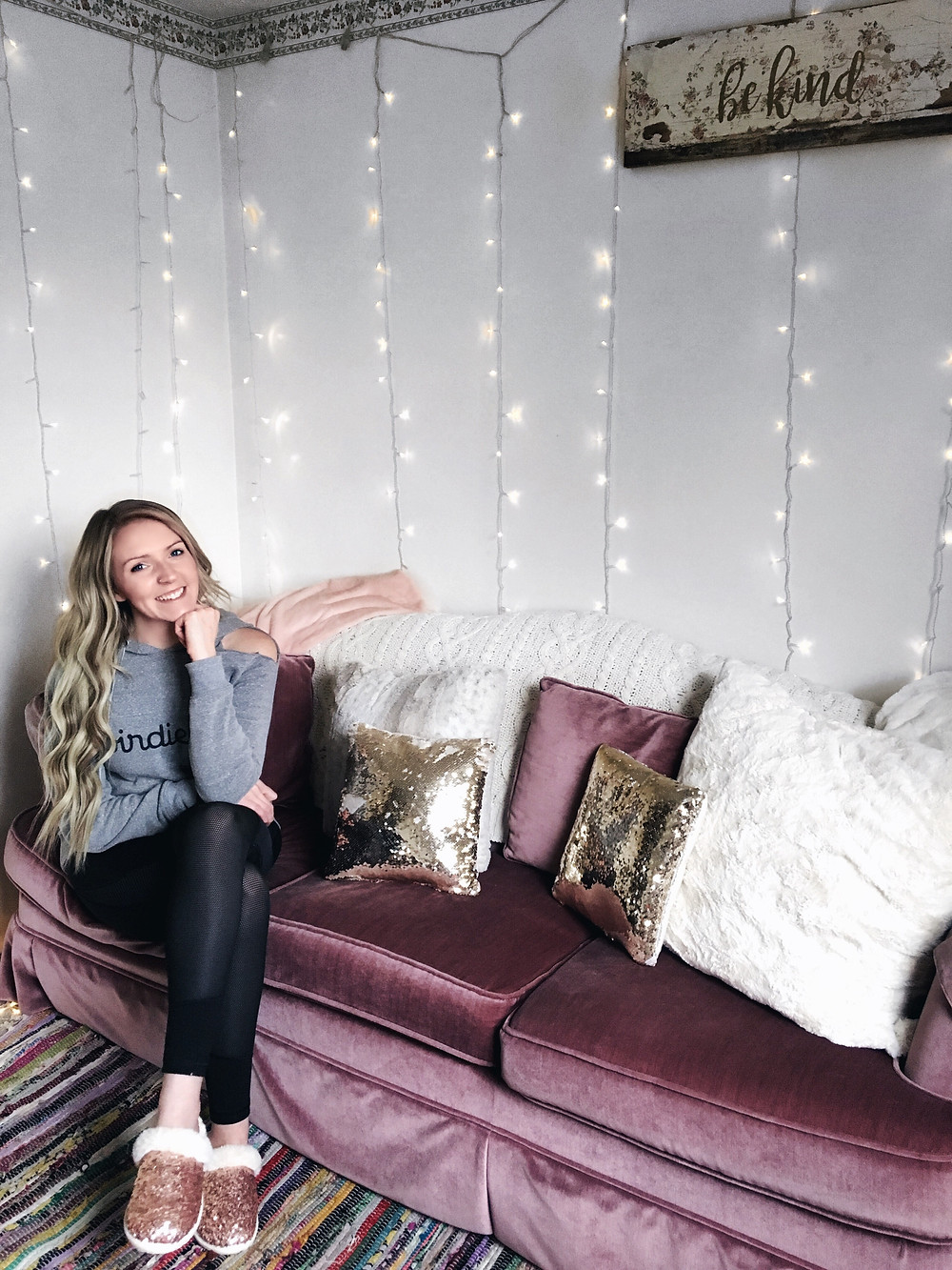 Babe Cave, Pink Couch, Sequin Pillows, Faux Fur, Be Kind, Twinkle Lights, Slippers, Target Slippers, Birdie Bee, Victorias Secret Sport, Handtied Hair Extensions, Hair Extensions,
