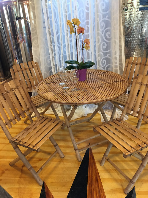 Bamboo table set with 4 chairs
