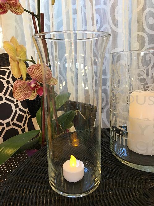 Fluted clear cylinder vase