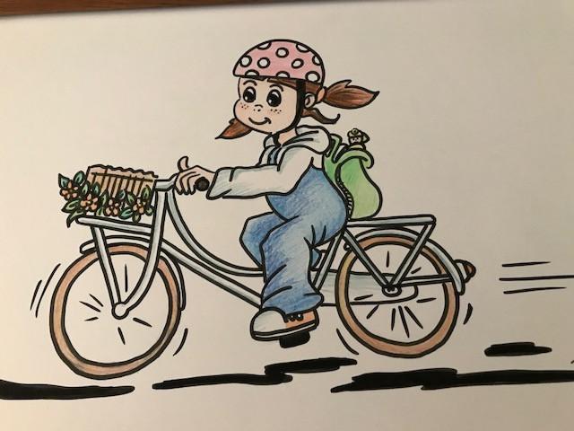 Fran op fiets naar school